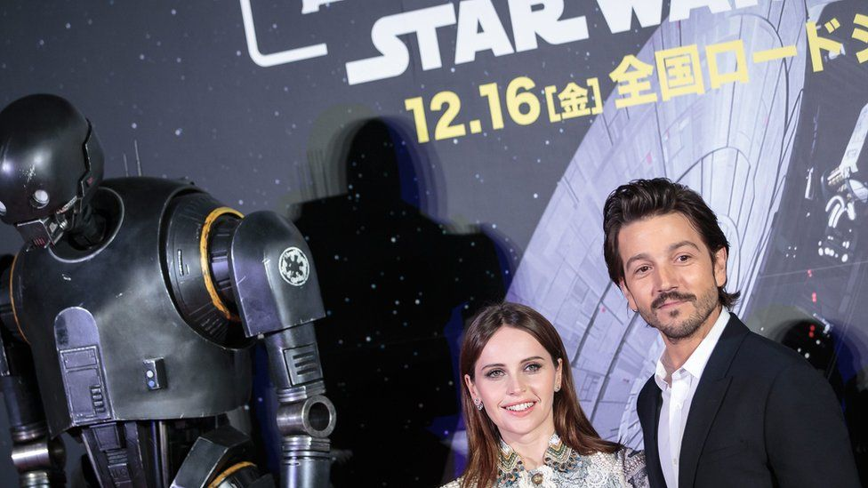 Felicity Jones and Diego Luna at the Japanese premiere of Rogue One