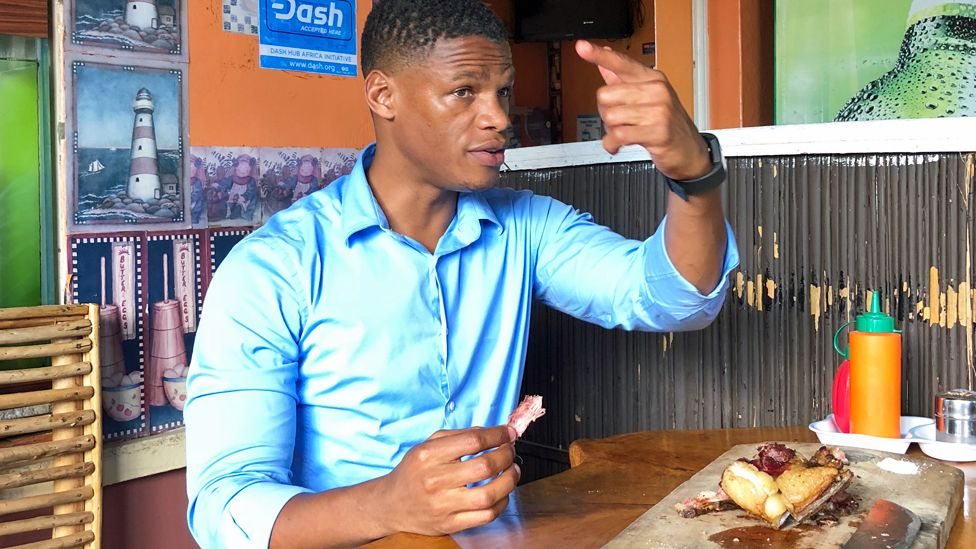 The BBC's Vumani Mkhize eating nyama choma at Betty's Place in Kenya