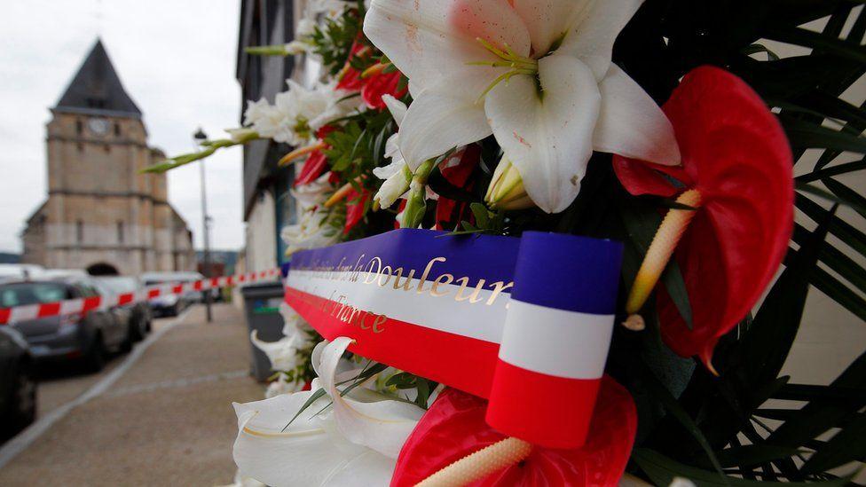memorial stands near the Saint Etienne church