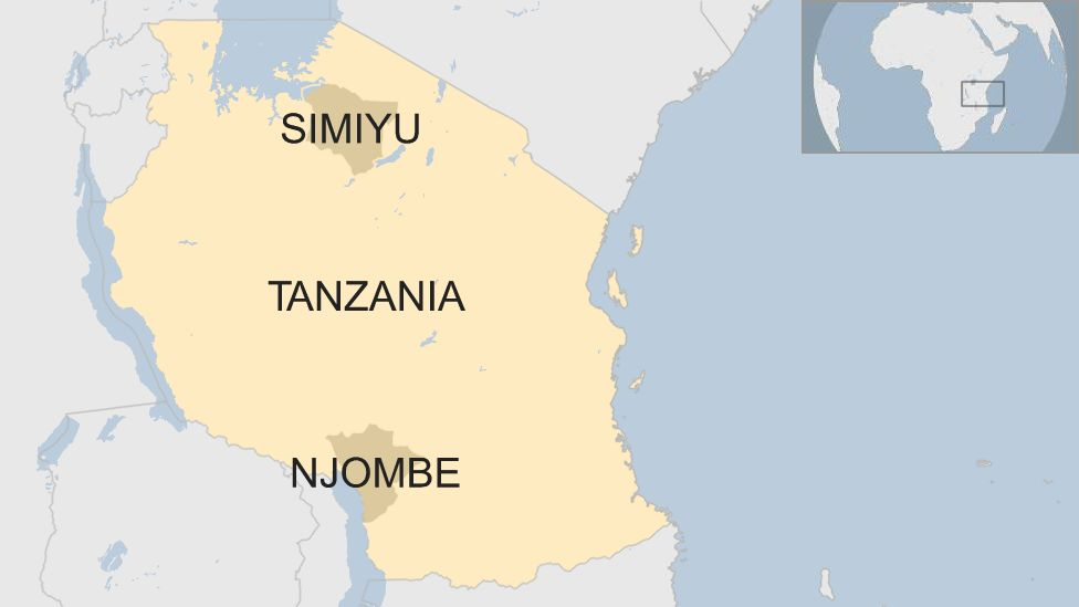 A map of Tanzania showing the location of Simiyu and Njombe regions.