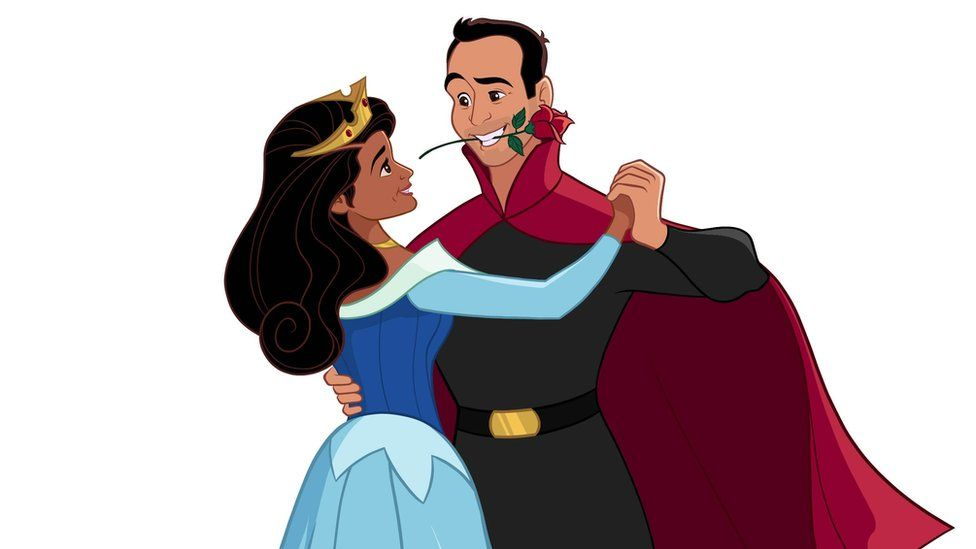 Illustration of the newly engaged couple