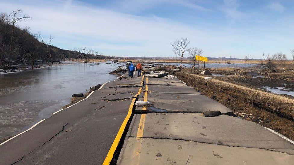 A flooded road in Nebraska