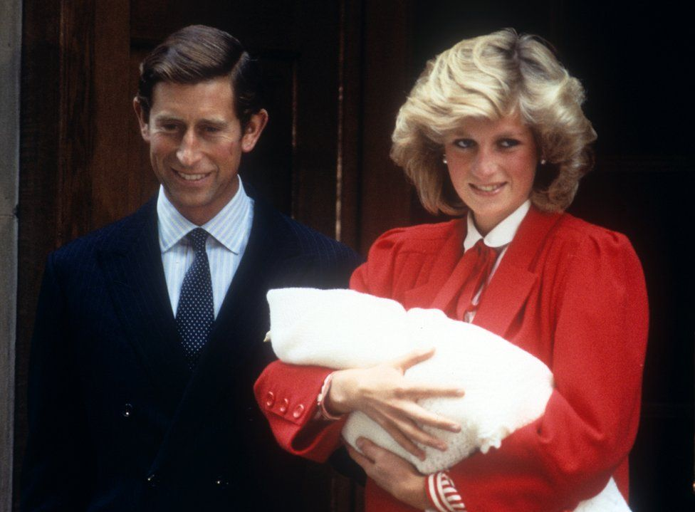 The Prince and Princess of Wales following the birth of their second son, Prince Harry in 1984