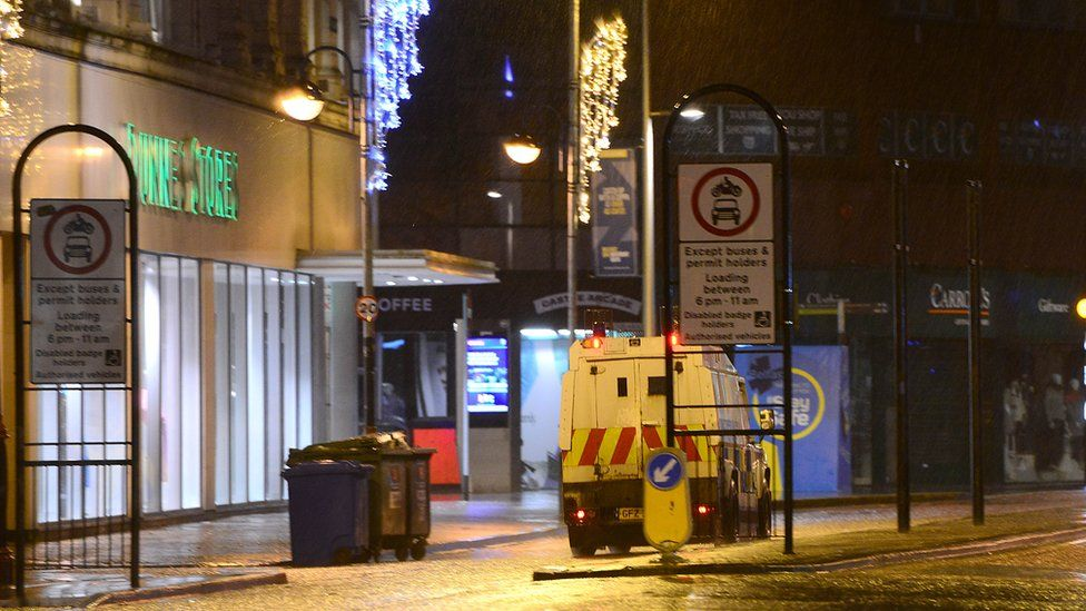 A Police Land Rover in a deserted Belfast city centre
