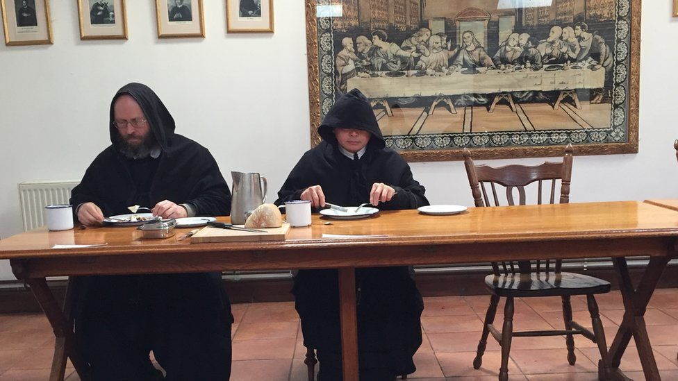 Monks eating lunch