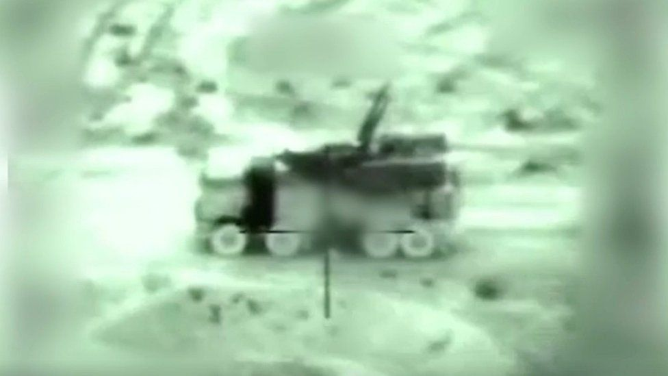 Screengrab taken from Israeli military video showing attack on Syrian military air defence battery on 21 January 2019