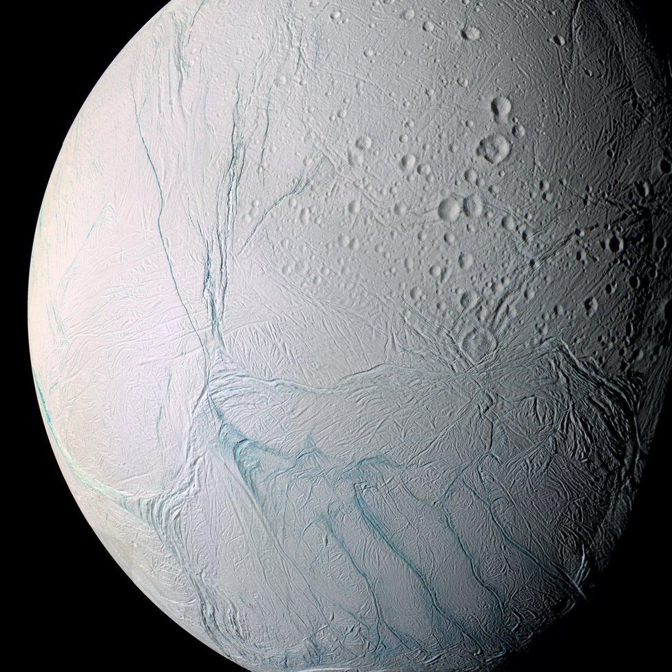 view of Enceladus surface from Cassini