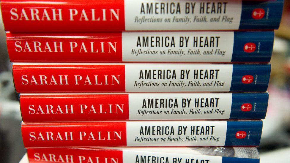Former Alaska Governor and Republican Vice Presidential candidate Sarah Palin's new book, 'America by Heart: Reflections on Family, Faith and Flag,' sits on a counter in the Politics and Prose Bookstore in Washington, DC, November 23, 2010