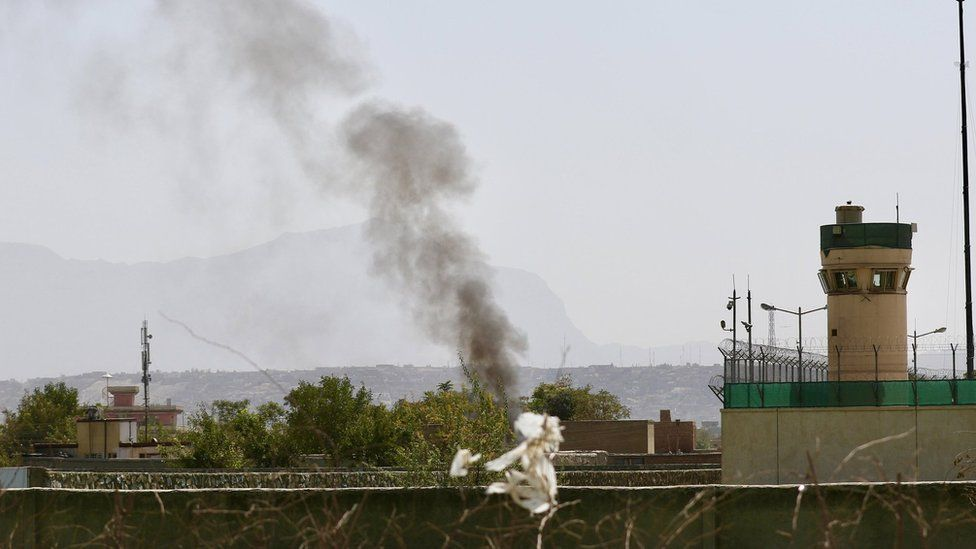 Smoke rises from Kabul airport after the attack by militants. 27 Sept 2017