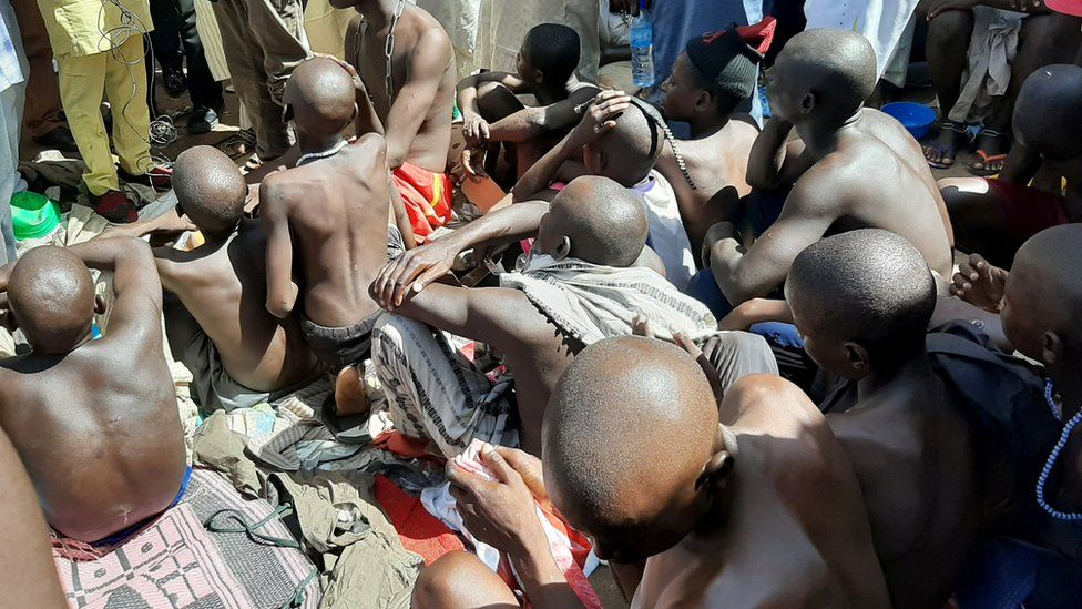 Men and boys are pictured after being rescued by police in Sabon Garin, in Daura local government area of Katsina state, Nigeria October 14, 2019