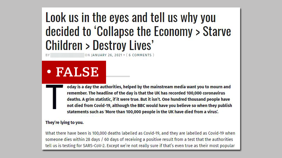 """Screenshot from a website promoting an inaccurate statement denying the scale of the coronavirus death toll. We added """"false"""" label"""