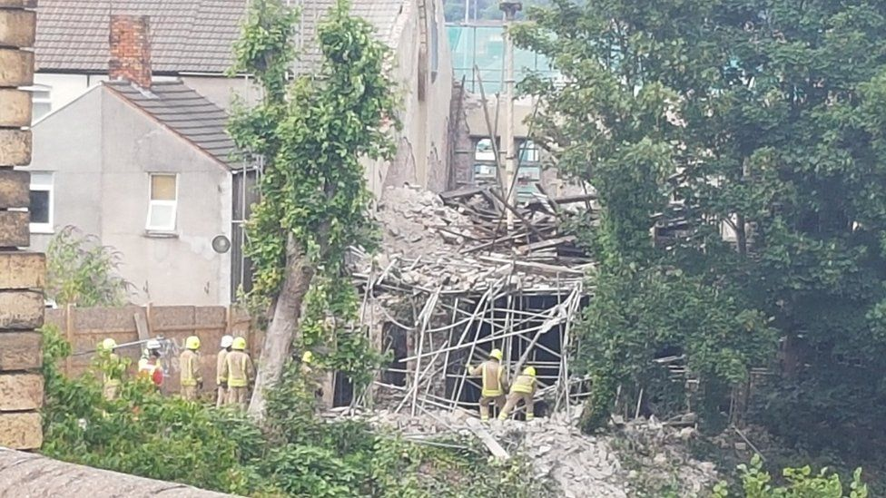 Building collapse Cardiff