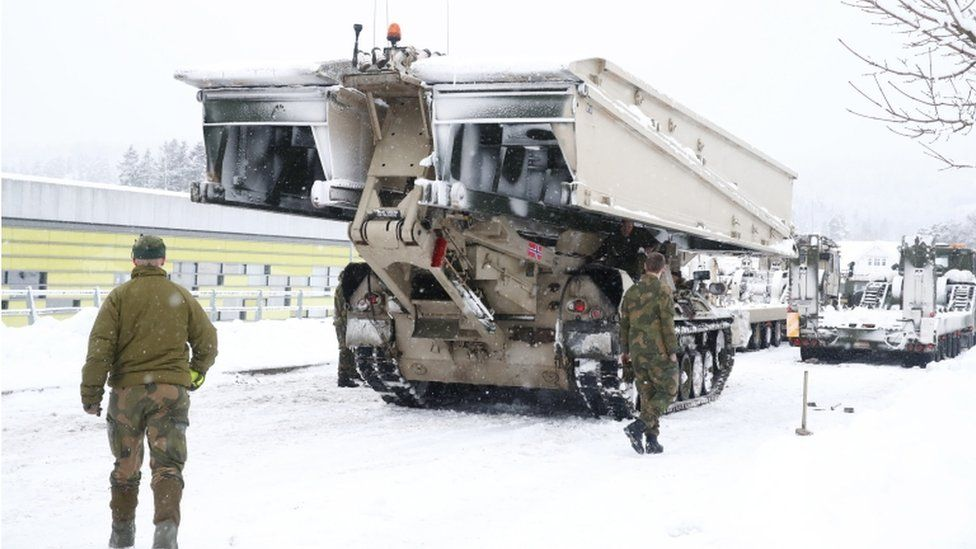 A mobile bridge from the Norwegian Armed Forces is being prepared for use in the rescue work that will continue after a major landslide and clay landslide occurred in Ask, Norway, 01 January 2021