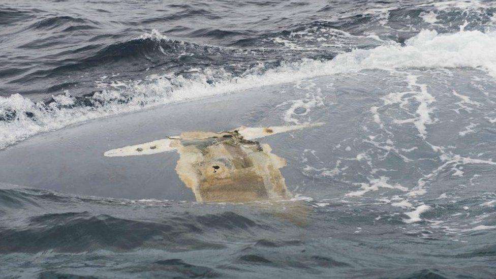 Upturned hull of the Cheeki Rafiki