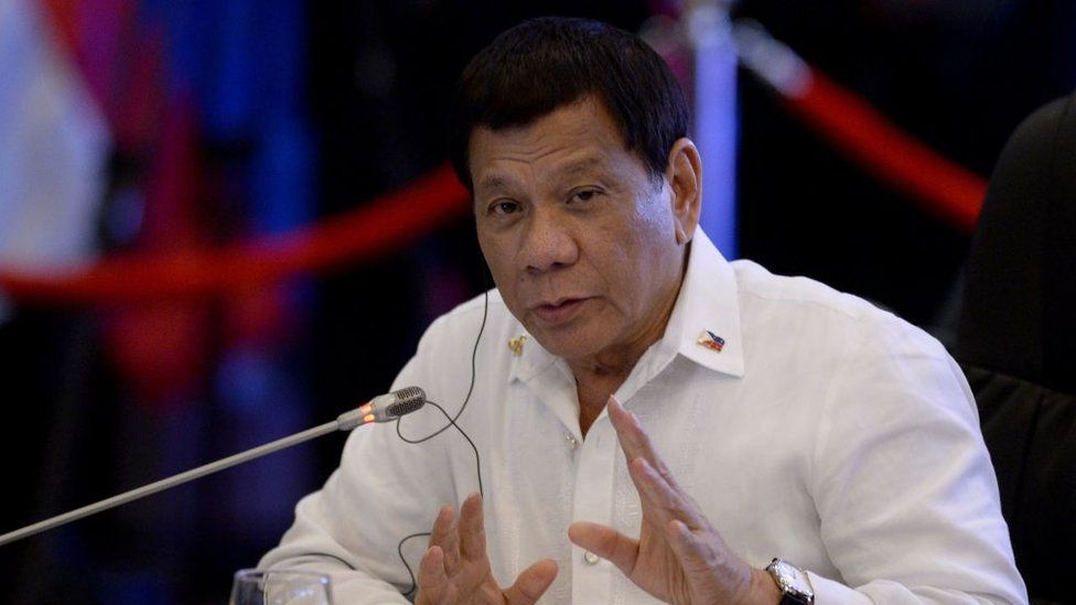 Philippine President Rodrigo Duterte delivers a statement during the 19th Association of Southeast Asian Nations