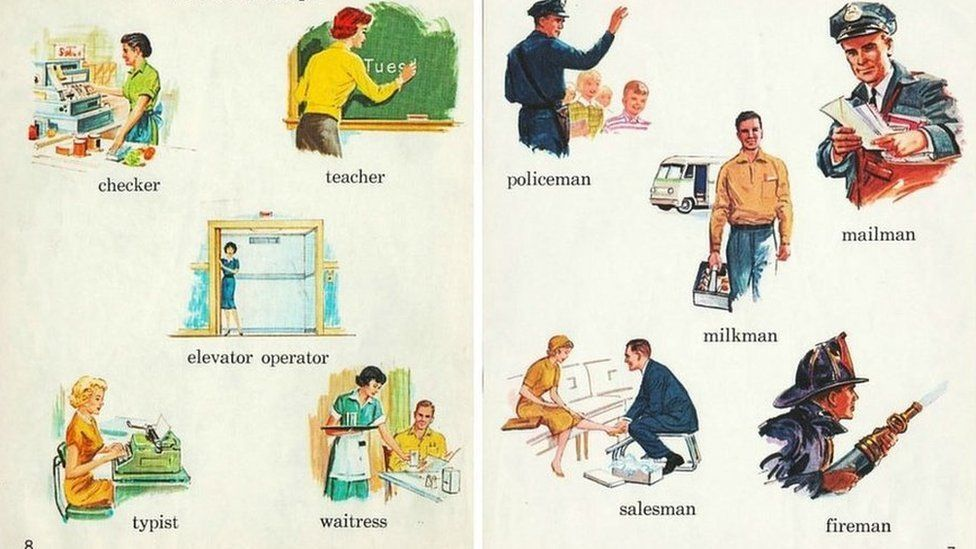 Textbook showing gender stereotypes in the US