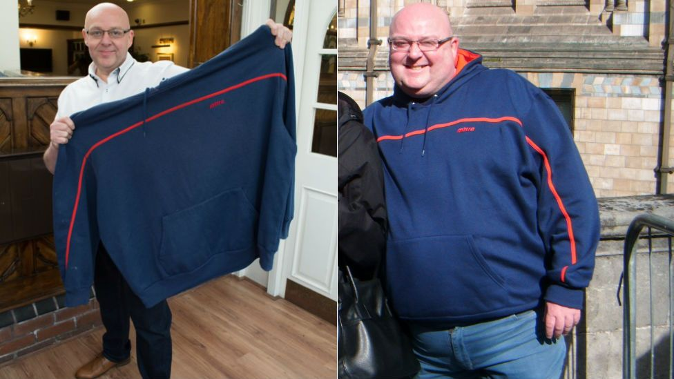 Before and after images of slimmer Mark Oldfield