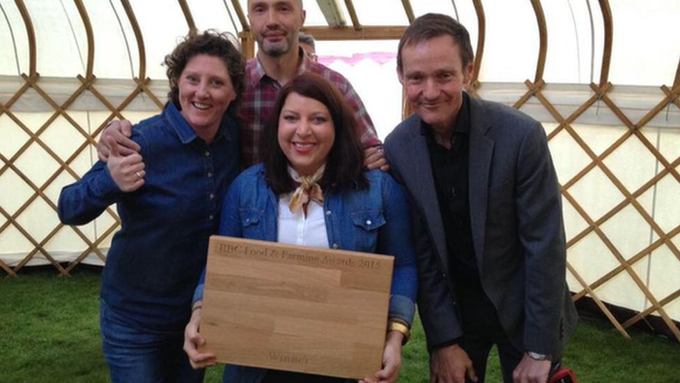 Shauna Guinn, Samantha Evans and Mark Sedgewick from Hang Fire with presenter Mark Forrest