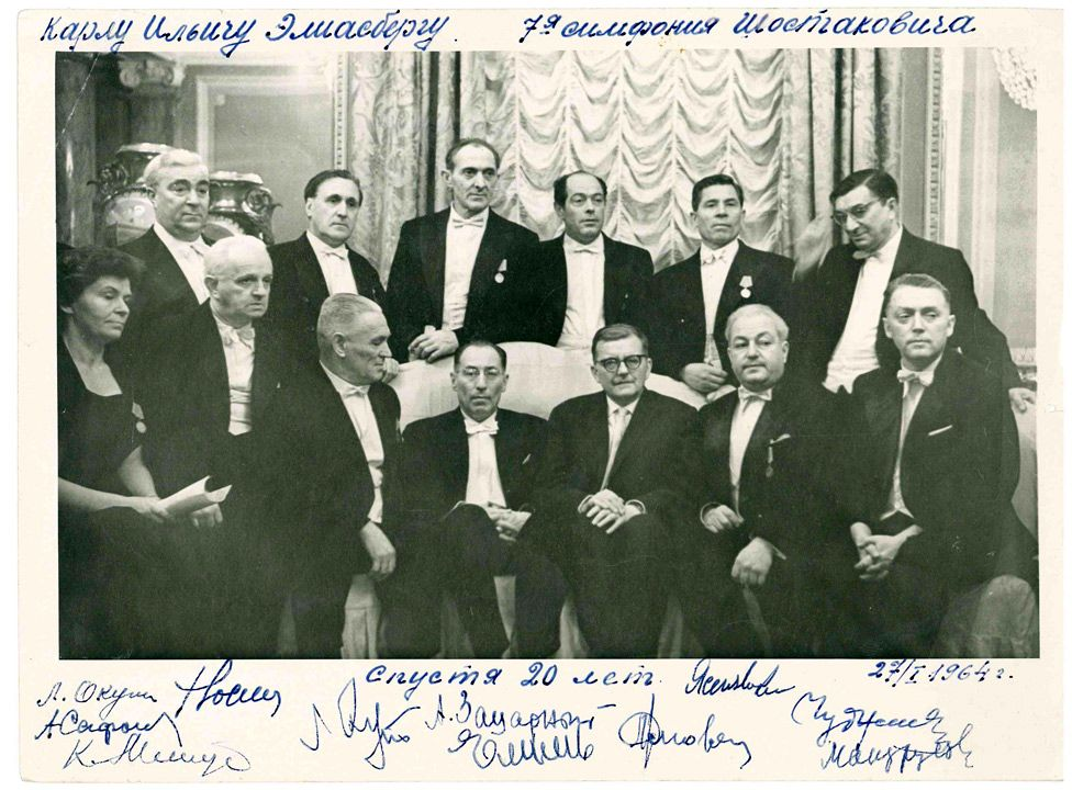 Shostakovich meets Eliasberg and orchestral musicians at a 20th anniversary performance in 1964