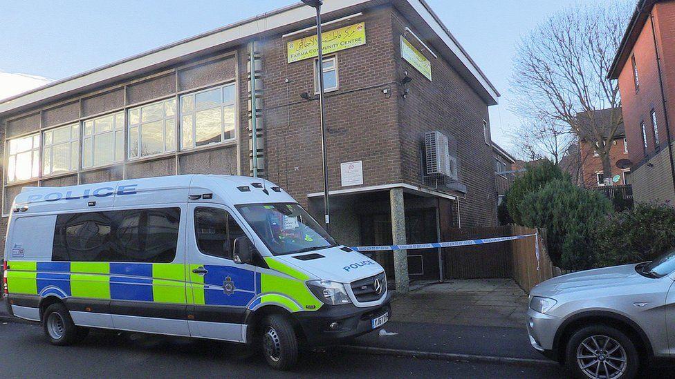 Police vehicle outside Fatima community centre