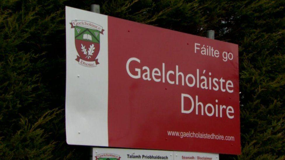 Gaelcholáiste Dhoire sign