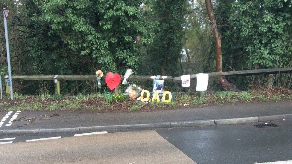 Flowers and messages at the scene of the accident - pic taken Monday 27th Feb 2017