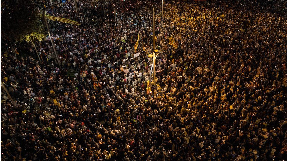 Thousands of people are seen from above protesting against imprisonment of two key members of the Catalan independence movement on October 17, 2017 in Barcelona, Spain