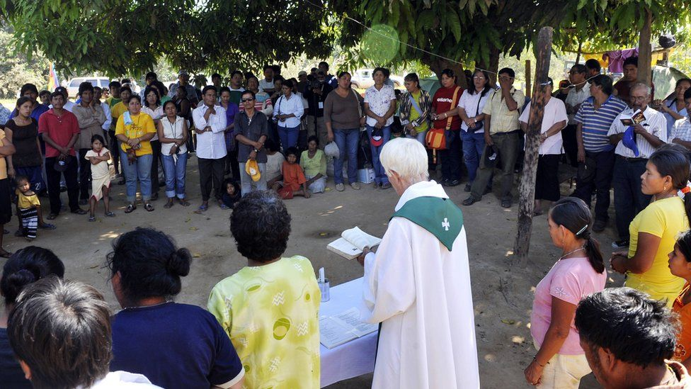A Catholic priests officiates a mass in north-eastern Bolivia. File photo