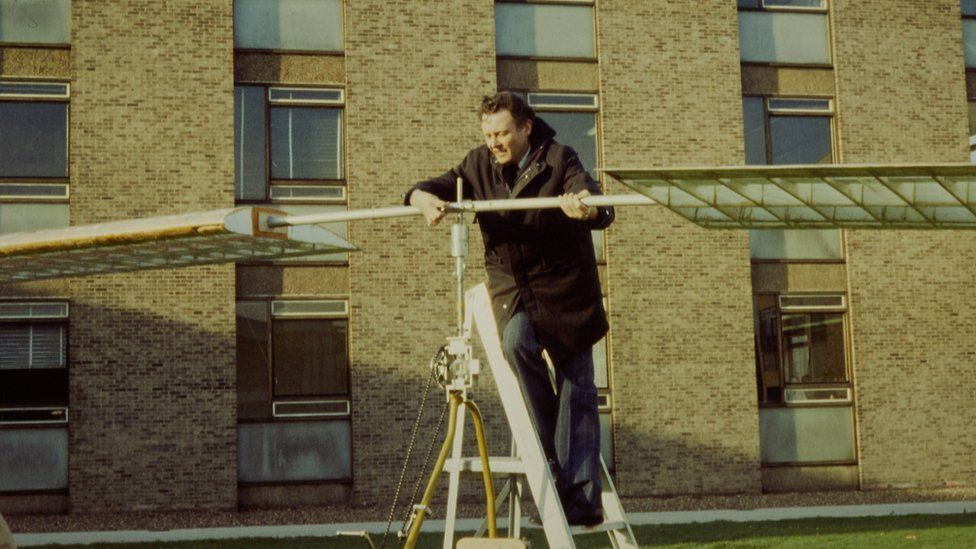 Peter Mansfield working on a human-powered flight machine