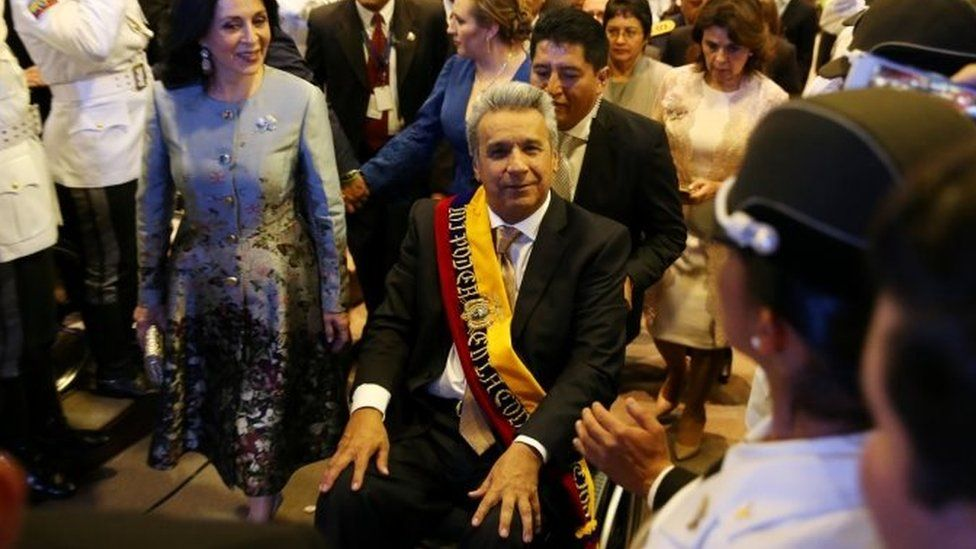 Lenin Moreno leaves the National Assembly after his inauguration ceremony. Photo: 24 May 2017