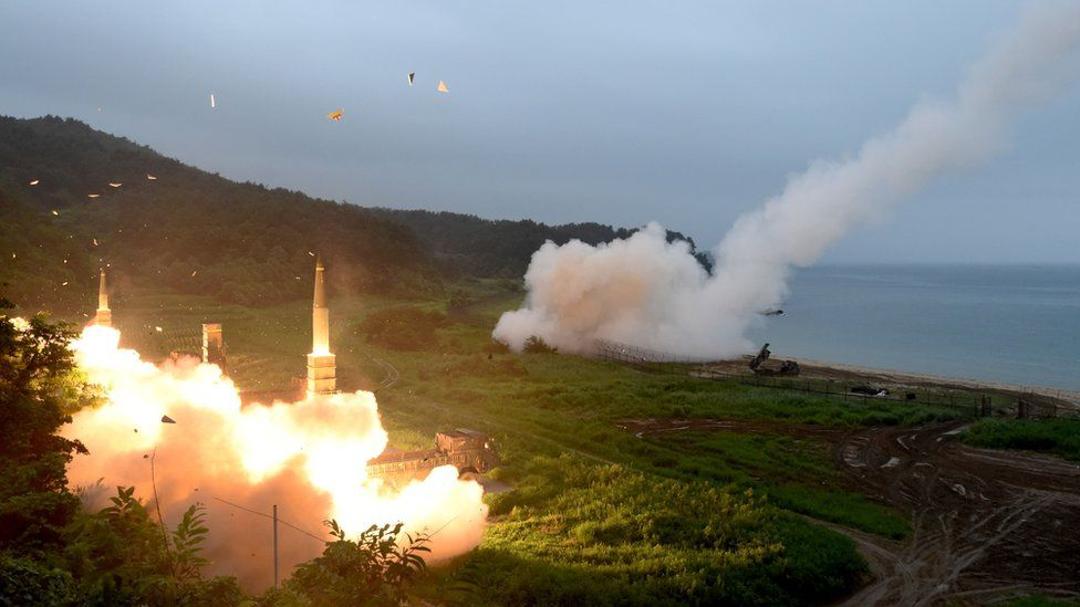 South Korea-US joint missile drill at an undisclosed location on South Korea's east coast after North Korean ICBM test.