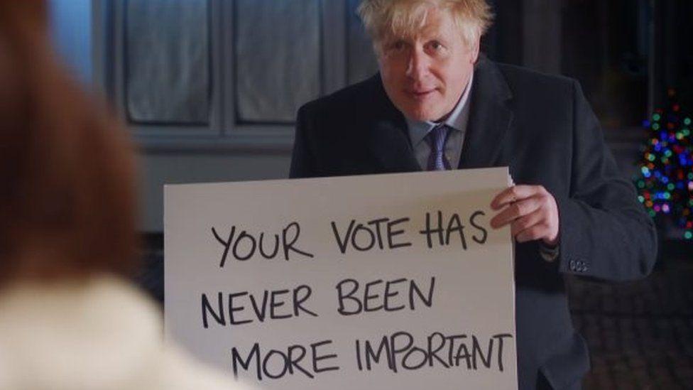 Boris Johnson in a Love Actually-themed election campaign video