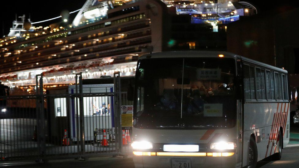 A bus carrying British passengers from the Diamond Princess Cruise ship
