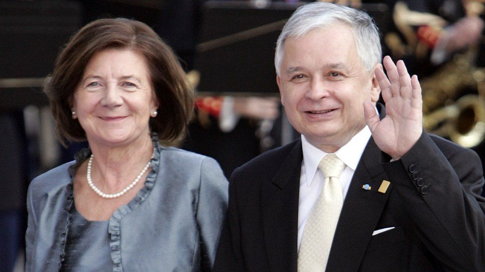 Lech Kaczynski and his wife Maria in Paris. July 2008