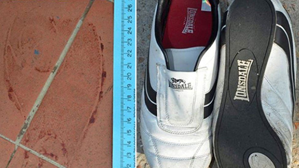 Trainers matching a blood-stained footprint