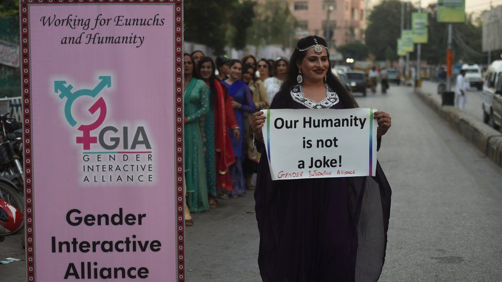 A Pakistani transgender activist poses for a photograph during a demonstration in Karachi, 20 November 2017