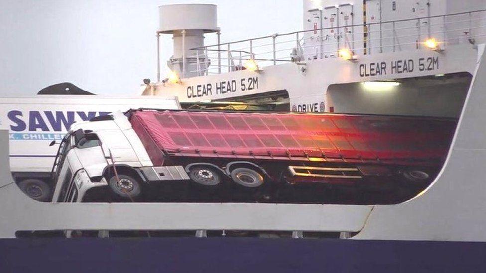 Toppled lorries