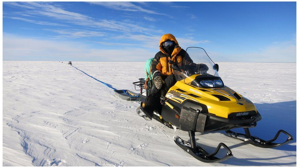 For weeks, the team dragged radar equipment across the glacier surface