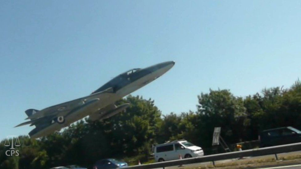 Seconds before the jet crashed onto the A27, Shoreham