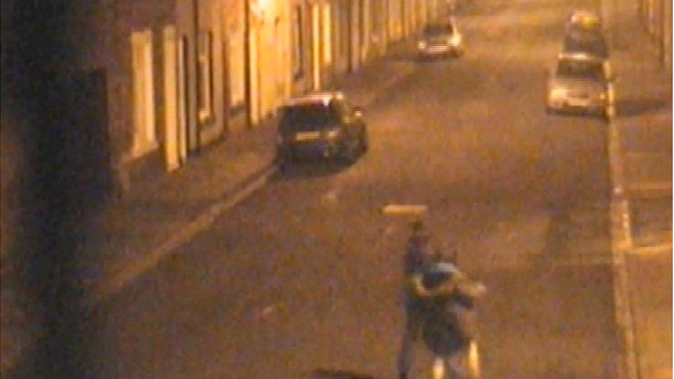 CCTV of girls returning to 14 Stephen Street in the early hours