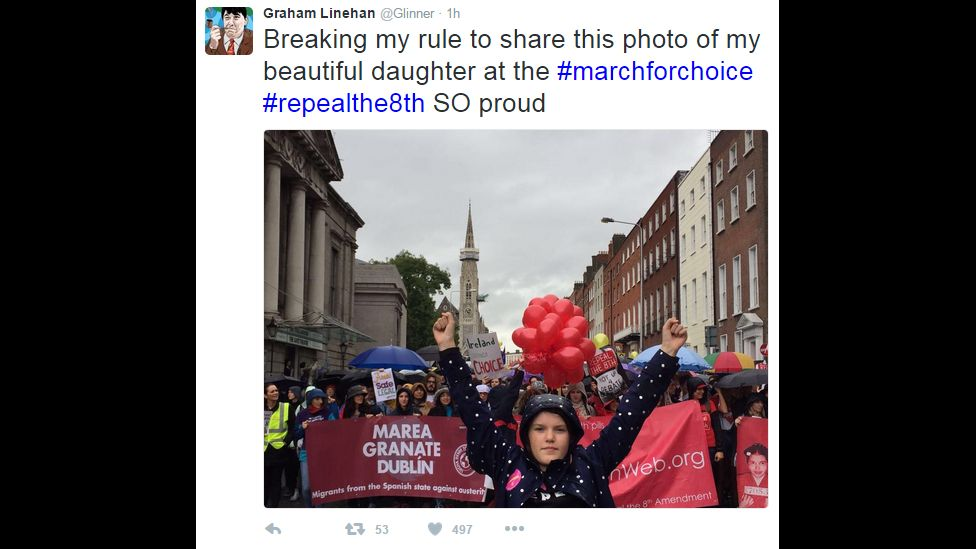 """Tweet: """"Breaking my rule to share this photo of this photo of my beautiful daughter at the #marchforchoice #repealthe8th so proud."""""""