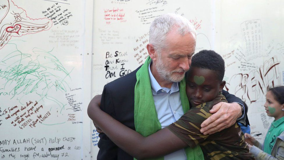 Jeremy Corbyn with boy at memorial wall near Grenfell Tower