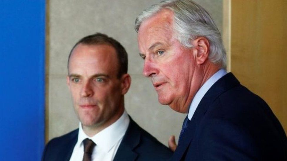 Talks are taking place between the UK's Dominic Raab and the EU's Michel Barnier