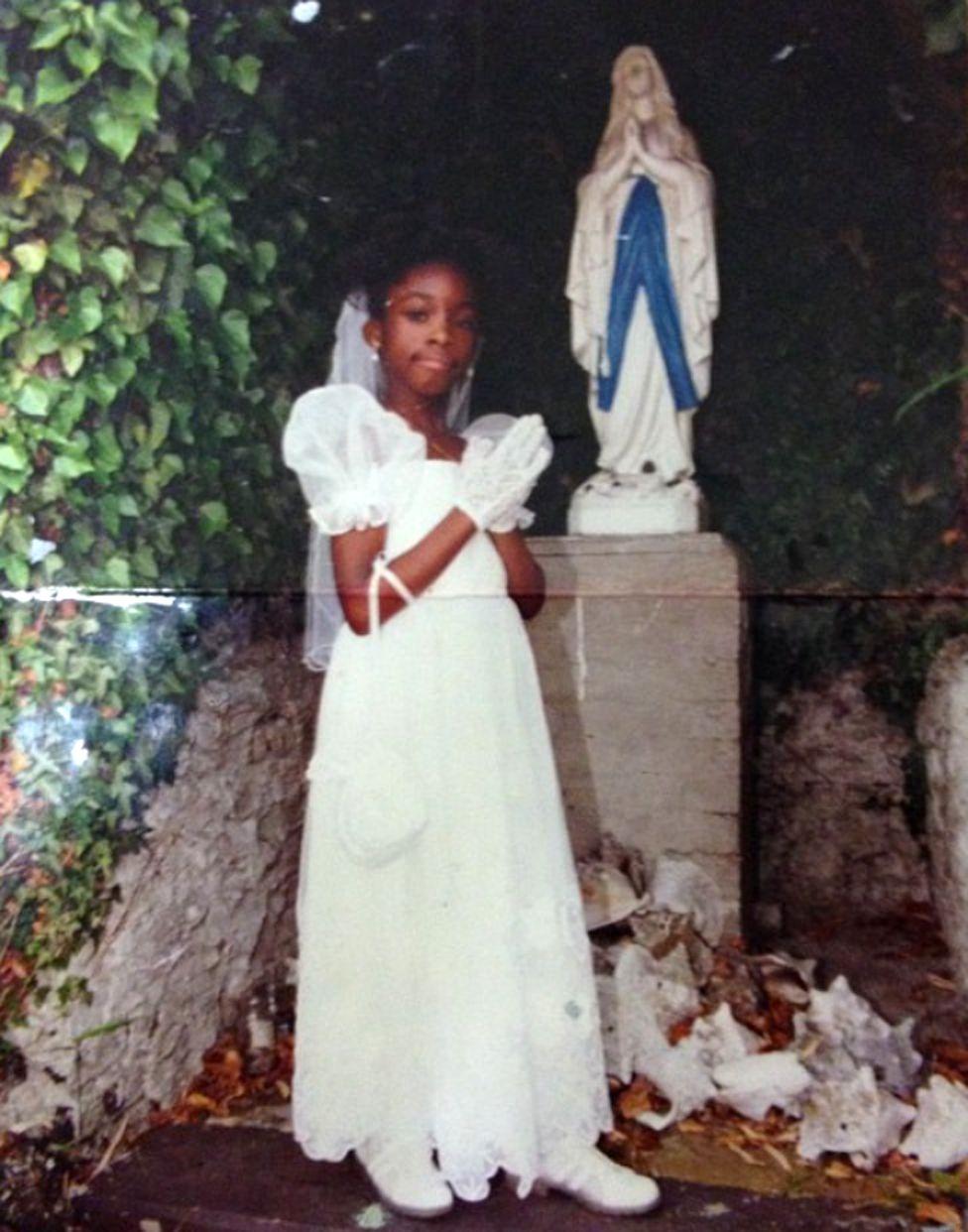 Nequela Whittaker at her first communion