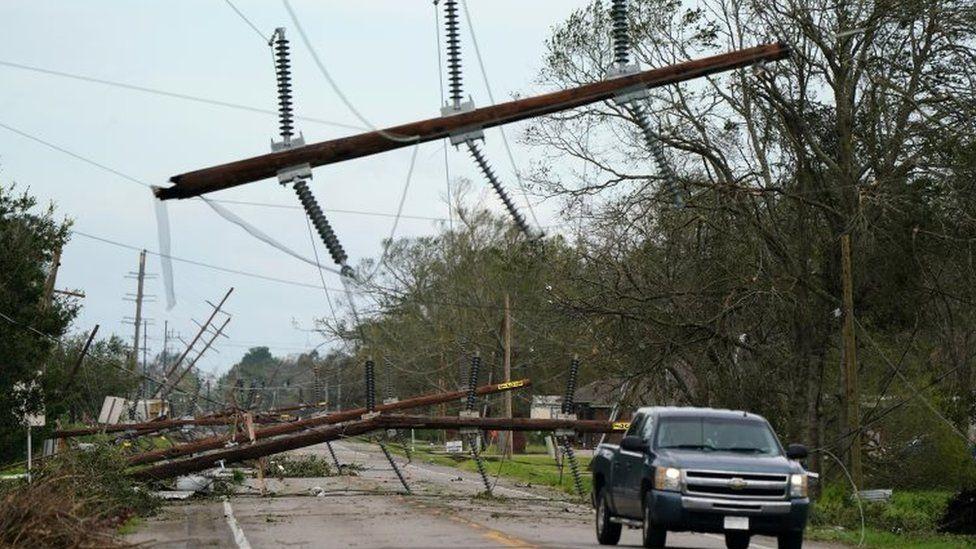 Downed power lines in Iowa, Louisiana