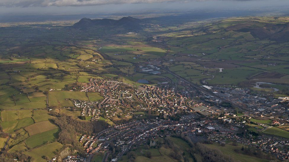 An aerial view of Welshpool