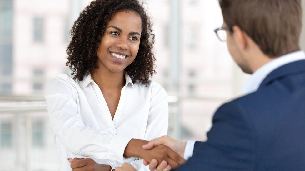 A woman attending a job interview