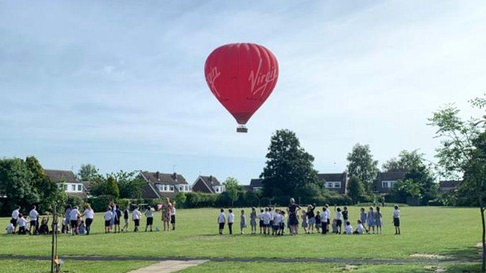 Balloon landing at school