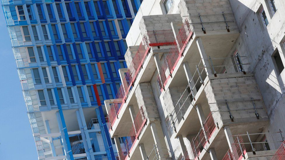 Residential block buildings under construction are pictured in Marseille, France, September 24