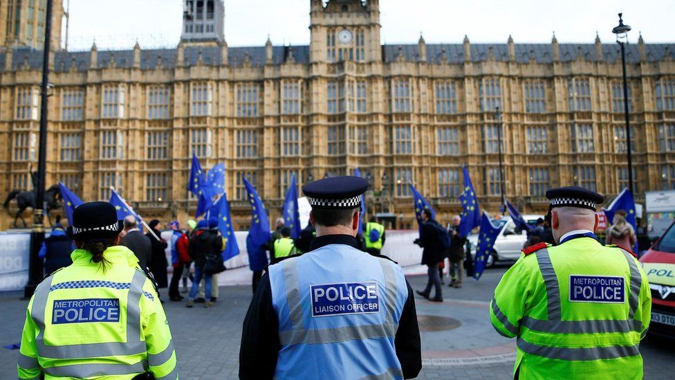 Police stand near to anti-Brexit demonstrators outside the Houses of Parliament in London